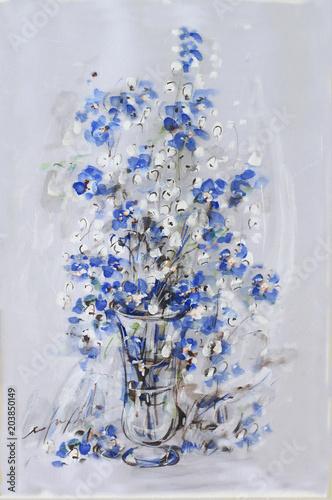 Blue flowers in vase an original modern batik painting on silk blue flowers in vase an original modern batik painting on silk mightylinksfo