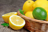 Lime and lemon in a basket