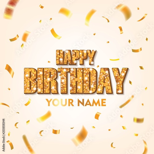 Happy Birthday with Gold conffeti Vector Design. Scattered Conffeti on White Background