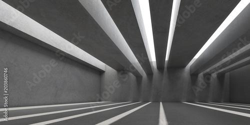 3D pobudzają białe wnętrze przestrzeni betonowej światłem słonecznym rzucają cień na ścianę i podłogę, Perspektywa minimalistycznej architektury, renderowanie 3d