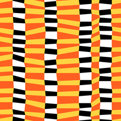 Colorful chaotic striped geometric seamless pattern, vector