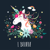 Unicorn card design with hand drawn elements