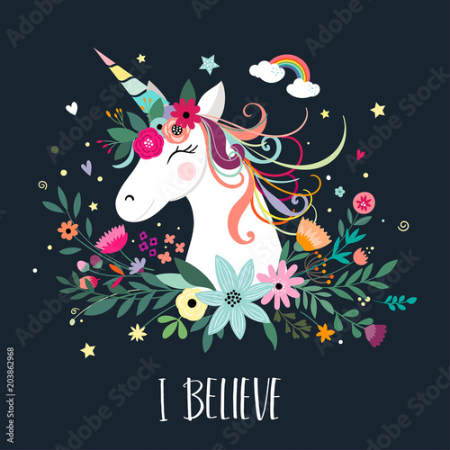 Poster Unicorn card design with hand drawn elements