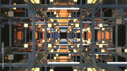 Tunel z metalową konstrukcją 3D render