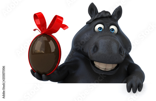Fridge magnet Fun horse - 3D Illustration