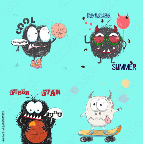 Cute little set of monsters cartoon hand drawn vector illustration. Can be used for baby t-shirt print, fashion print design, kids wear, baby shower celebration, greeting and invitation card.