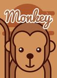 monkey cartoon poster african animal vector illustration
