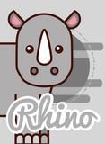 rhino cartoon poster african animal vector illustration
