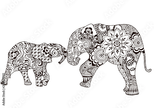 Fototapeta Two elephants decorated with Indian patterns. Ornate patterns in the style of mehndi.