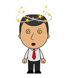 Cartoon Businessman with flying stars spinning around his head - 203881388