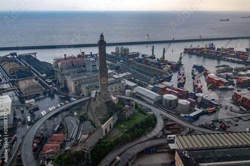 lanterna lighthouse genoa town aerial view
