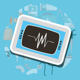 monitoring cardiology machine medical supply healthcare vector illustration - 203884115