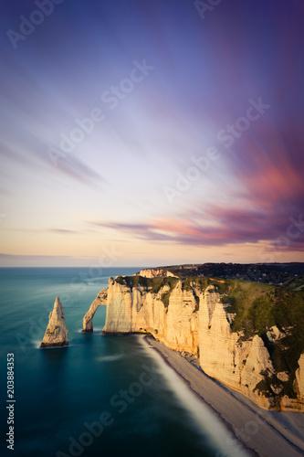 Aluminium Zonsopgang Cliffs of Etretat, France