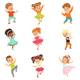 Cute little kids dancing set, modern and classical dance performed by children vector Illustrations on a white background - 203885562