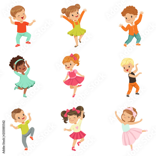 Cute little kids dancing set, modern and classical dance performed by children vector Illustrations on a white background © topvectors