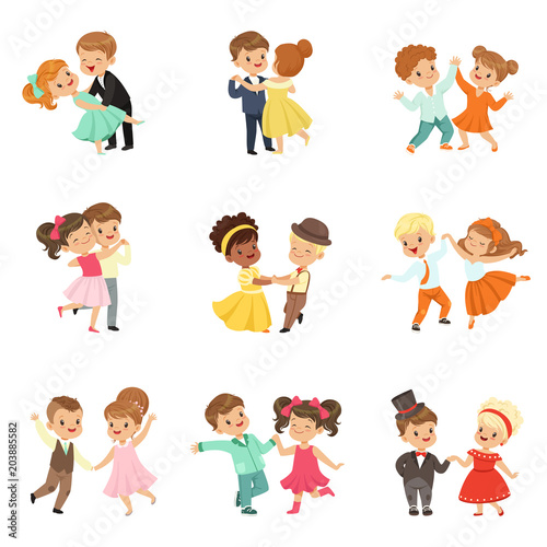 Couple of little kids dancing set, modern and classical dance performed by children vector Illustrations on a white background © topvectors