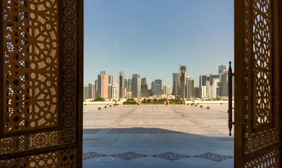 Doha, Qatar - View from the doors of The Grand Mosque in Doha