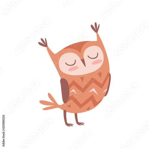 Plexiglas Uilen cartoon Cute cartoon owlet bird character standing with closed eyes vector Illustration on a white background