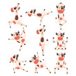 White spotted cow set, farm animal character doing sport exercise vector Illustrations on a white background