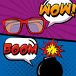 pop art comic retro style banners glasses and bomb vector illustration