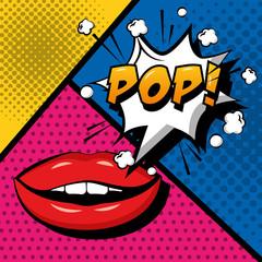 pop art comic sensual lips pop speech bubble vector illustration