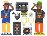 Hip hop man accessory musician vector accessories microphone breakdance expressive rap modern young fashion person adult people illustration. - 203888350