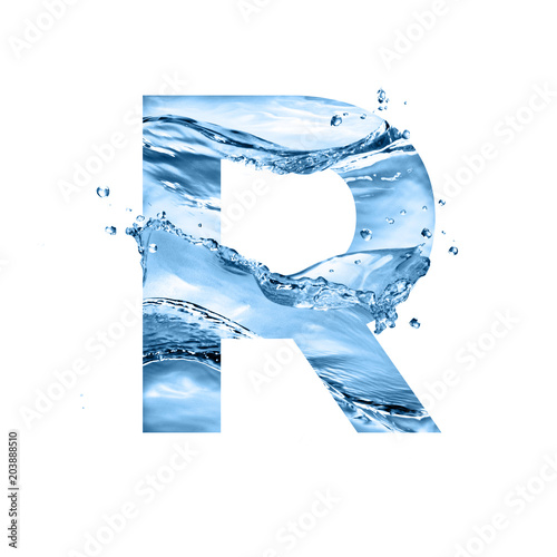 Foto Murales stylized font, text made of water splashes, capital letter r, isolated on white background