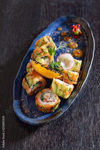 Plexiglas Sushi bar sushi in the asian restaurant
