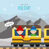 Train Public Subway Railway Mountain Travel Holiday Winter Boy Cartoon Character Vector