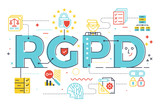 European GDPR (General Data Protection Regulation) word concept  illustration in Spanish abbreviation (RGPD) - 203894915