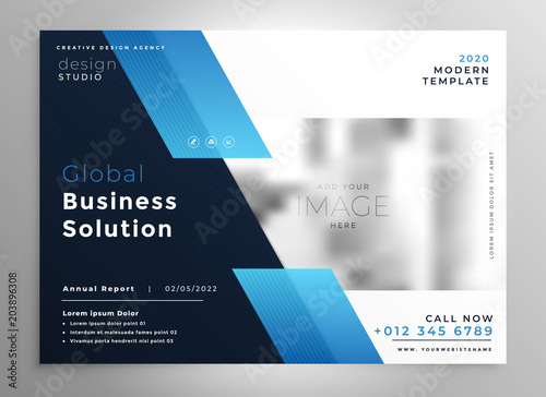 Wall mural creative blue modern business brochure flyer presentation template