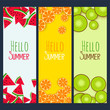 summer fruits verticle banners set