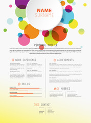 Creative simple cv template with colorful circles shapes.