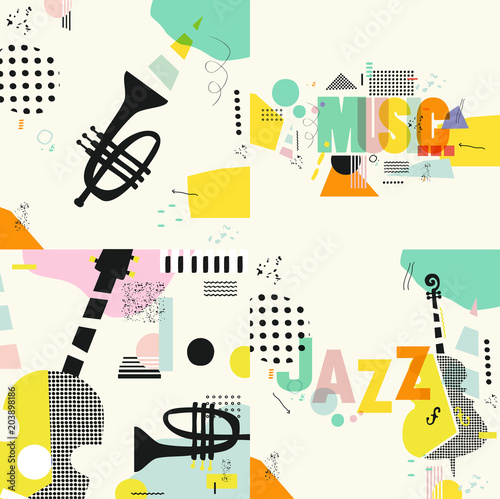 Set of music cards and banners. Music cards with instruments flat vector illustration. Jazz music festival banners. Colorful jazz concert typographic posters © abstract