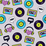 seamless vector musical retro pattern with vinyl - 203898524