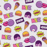 trendy pop art seamless american pattern with patches and stickers - 203898577