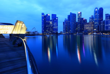 Singapore Skyline. Singapore`s business district and night view for marina bay