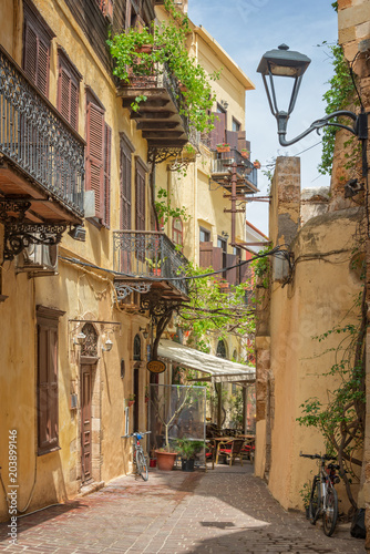 Traditional pedestrian street in the old town of Chania in Crete, Greece