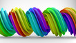 Colorful rainbow gradient twisted spiral shape 3D rendering