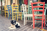 Colorful chairs of a restaurant terrace in a prdestrian street of the old town of Chania in Crete, Greece - 203899371