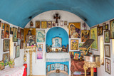 Interior of a small greek orthodox chapel by the sea near Chania in Crete, Greece - 203899767