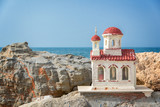 Miniature greek orthodox chapel by the sea near Chania in Crete, Greece - 203899996