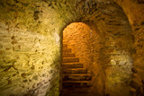 stairs in medieval cellar - 203900122