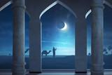 Silhouette of muslim man praying in outdoor