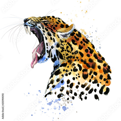 Fototapeta Leopard hand drawn watercolor illustration