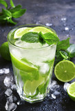 Cold summer drink mojito in a tall glass. - 203908373