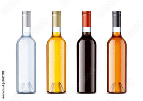 Blank bottles for alcohol drinks