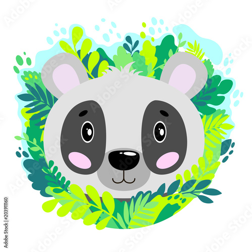 Fototapeta Vector cute panda face in the jungle. For print on a T-shirt, a picture in the nursery.