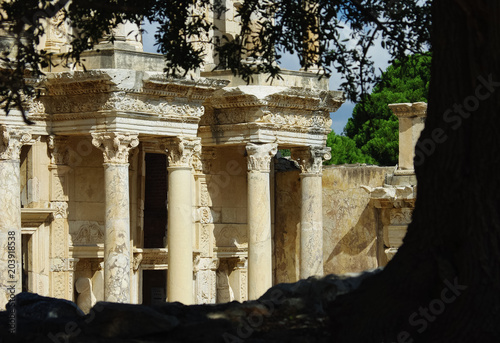 canvas print picture Ephesos on a summer day with the antique library in the background