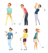 Different Golf Players Isolate   Sticker